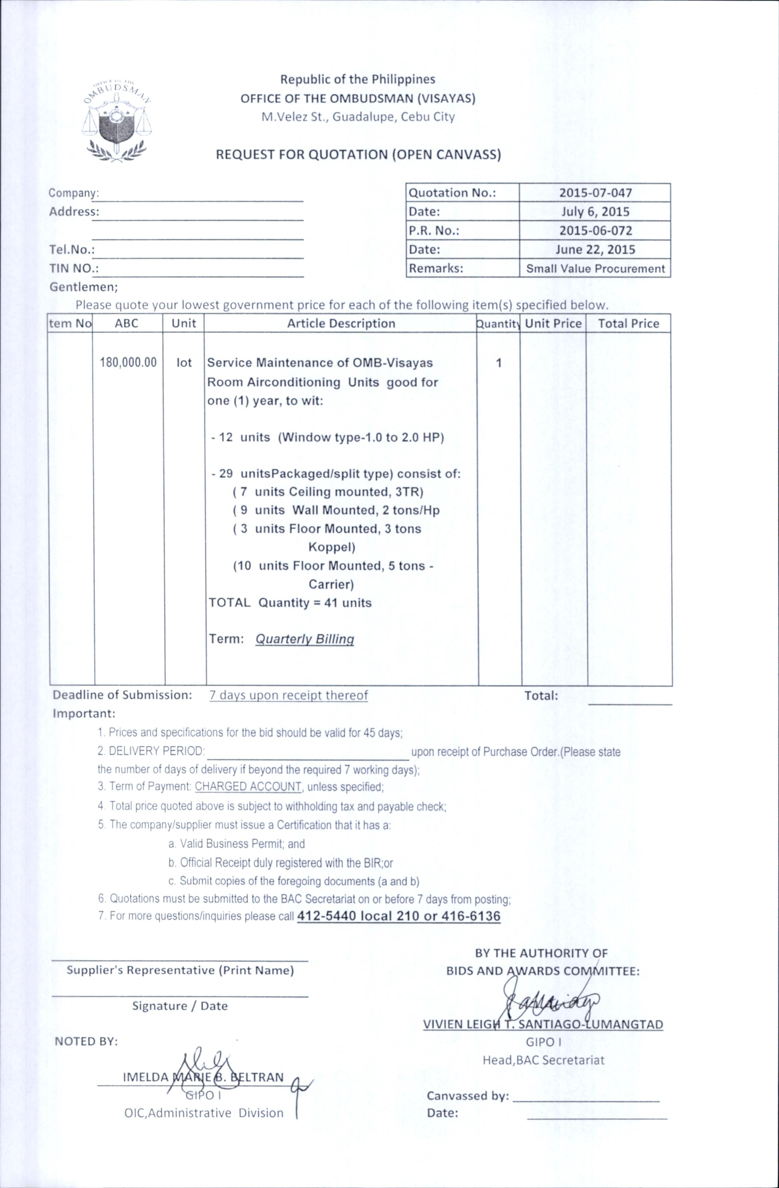 maintenance quotation sample ideal vistalist co
